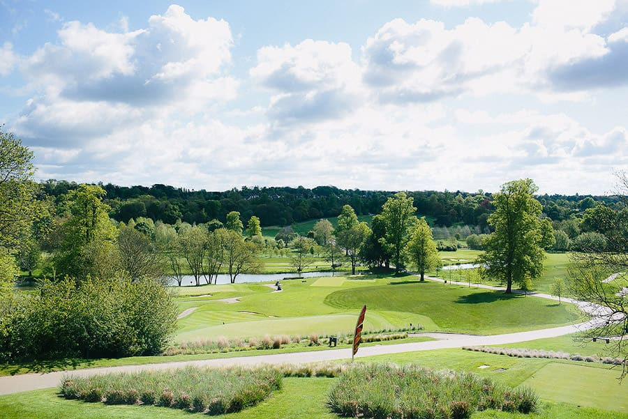 the grove, hertfordshire, wedding, exterior, landscape, golf course